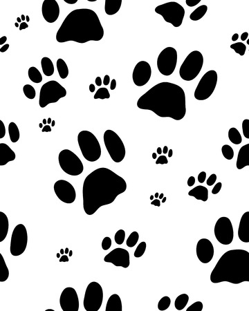 trace: Seamless pattern with black silhouettes of trace of cats, vector