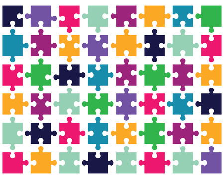 Illustration of colorful shiny puzzle, separate pieces Vettoriali