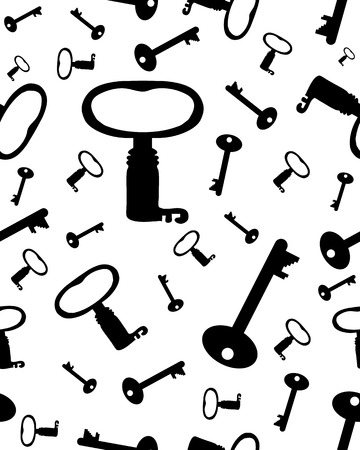old keys: Seamless pattern with old keys on a white background, vector