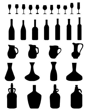 botella champagne: Siluetas negras de botellas jarra y vasos de vectores