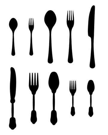 silver ware: Black silhouettes of cutlery illustration