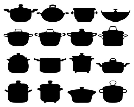 Black silhouettes of different pots and pans Vector