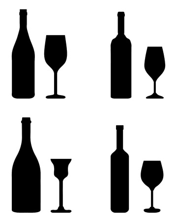 Black silhouettes of glass and bottle, vector