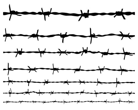 Black silhouette of the barbed wire