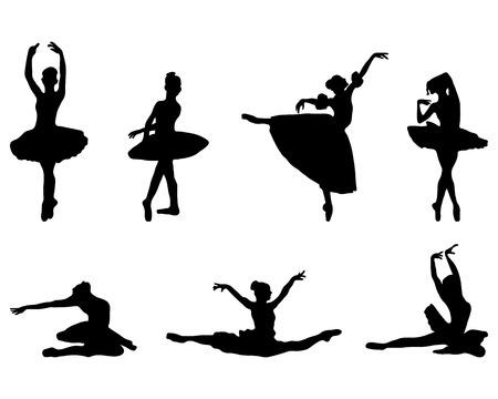 lyrical dance: Black silhouettes of  ballerinas on white background, vector