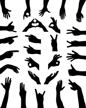 hello heart: Black silhouettes of hands. vector Illustration