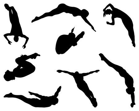 Mensen springen in het water, silhouet Stock Illustratie