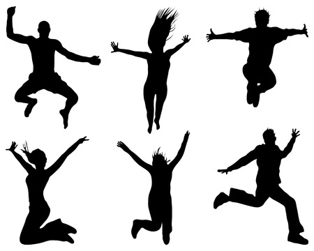 exaltation: Silhouettes of people wich jumping and flying, vector