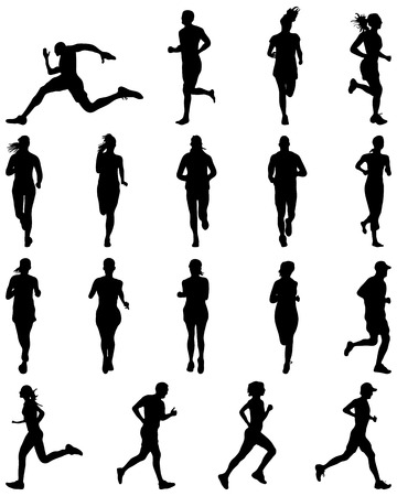 pentathlon: Black silhouettes of runners, vector Illustration