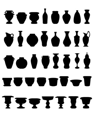 azalea: Black silhouettes of flower pots and pottery, vector