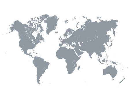 Vector illustration of detailed gray world map