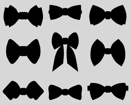 Black silhouettes of bow ties, vector