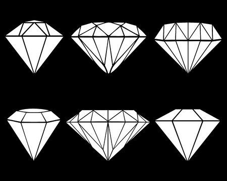 dearly: White silhouettes of different diamonds, vector illustration Illustration