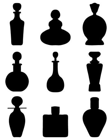 Silhouetten van parfumflesjes, vector illustratie