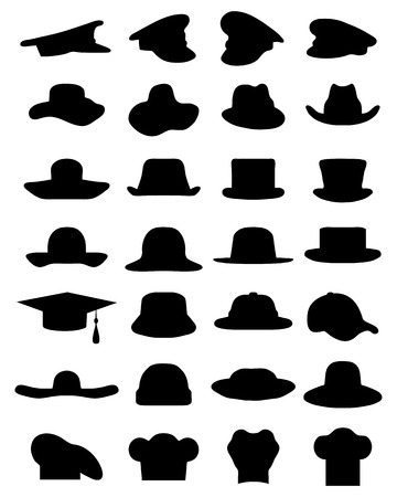 Silhouettes of various caps and hats, vector
