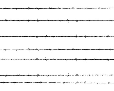 rope barrier: Black silhouette of the barbed wire, vector