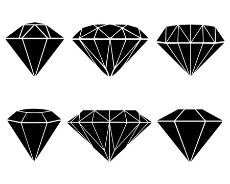 dearly: Black silhouettes of diamonds, vector