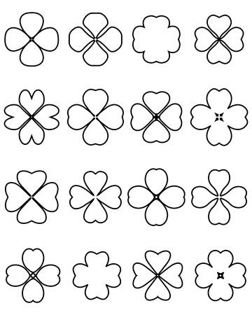 four fourleaf: Outline silhouettes of four leaf clover, vector