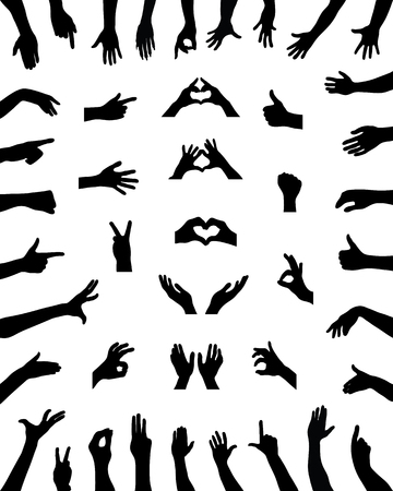 hi five: Black silhouettes of various positions of hands, vector Illustration