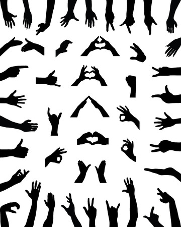 Black silhouettes of various positions of hands, vector Vettoriali