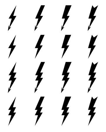 Black thunder lighting bolt Icons, vector Illustration
