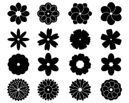 Siluetas negras de dieciséis flores del vector simples