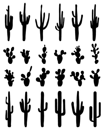 thorn bush: Black silhouettes of different cactus, vector