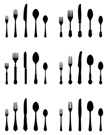 silver ware: Set of black silhouettes of cutlery, vector Illustration
