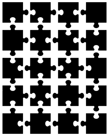 Separate pieces of black puzzle, vector illustration