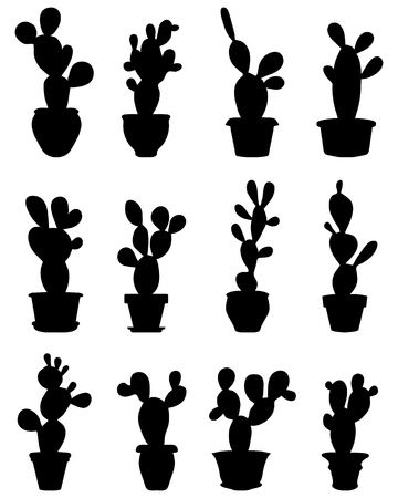 thorn bush: Black silhouettes of cactus at potted, vector