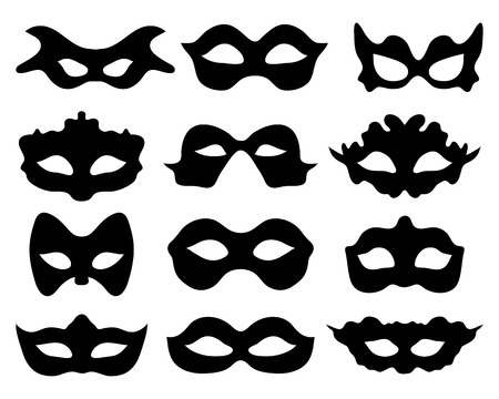 decoration decorative disguise: Black silhouette of festive masks in black on a white background