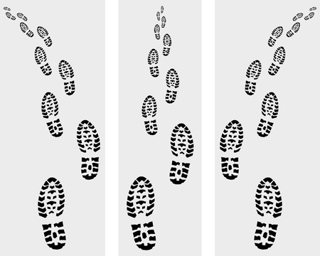 imprints: Black trail of shoe on a gray background, vector