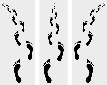 trail: Trail of human bare footsteps, vector illustration