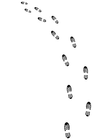 turn left: Trail of prints of shoes, turn left