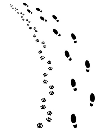 Footprints of man and dog, turn left