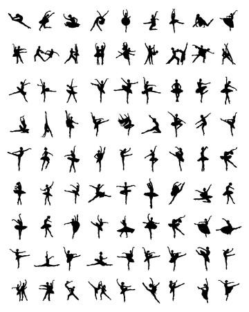 lyrical dance: Black silhouettes of ballerinas