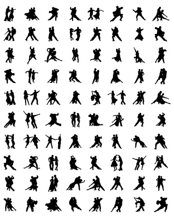 beauty contest: Black silhouettes of tango players Illustration