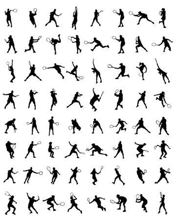 wimbledon: Black silhouettes of tennis players