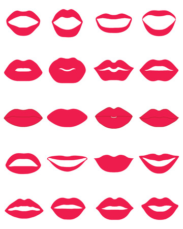 flirt: Set of red lips on a white background