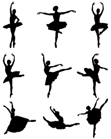 Black silhouettes of ballerinas on a white background, vector Ilustração