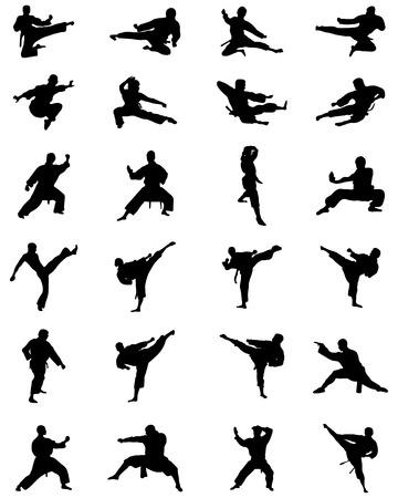 sidekick: Black silhouettes of karate fighting, vector