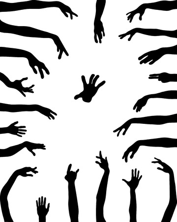 hi five: Black silhouettes of hands in various positions, vector