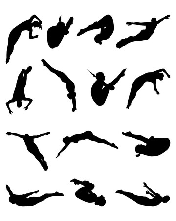 springboard: Black silhouettes of jumping people into the water, vector Illustration