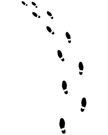 trail: Trail of shoes prints, turn left, vector Illustration