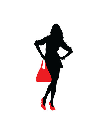 Silhouette of a lady with red shoes and handbags Illustration