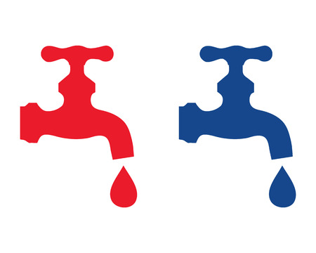 Blue and red silhouettes of water faucet, vector