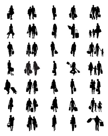 black people: Black silhouettes of people in the shopping, vector