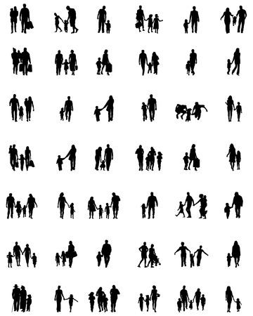 Schwarze Silhouetten von Familien in Fuß, Vektor Vektorgrafik