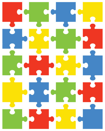 Separate pieces of colorful puzzle, vector illustration Vettoriali