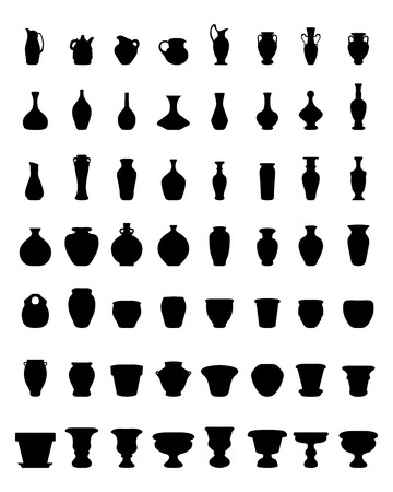 Black silhouettes of flower pots and pottery, vector